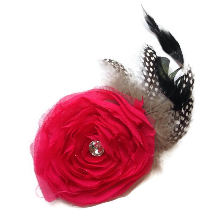 Swirl Feathered Flower Hair Clip-Hot Pink