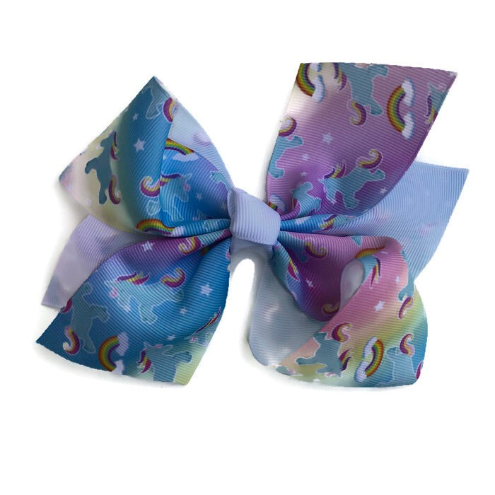 Jumbo Hair Bow - Rainbow Unicorn