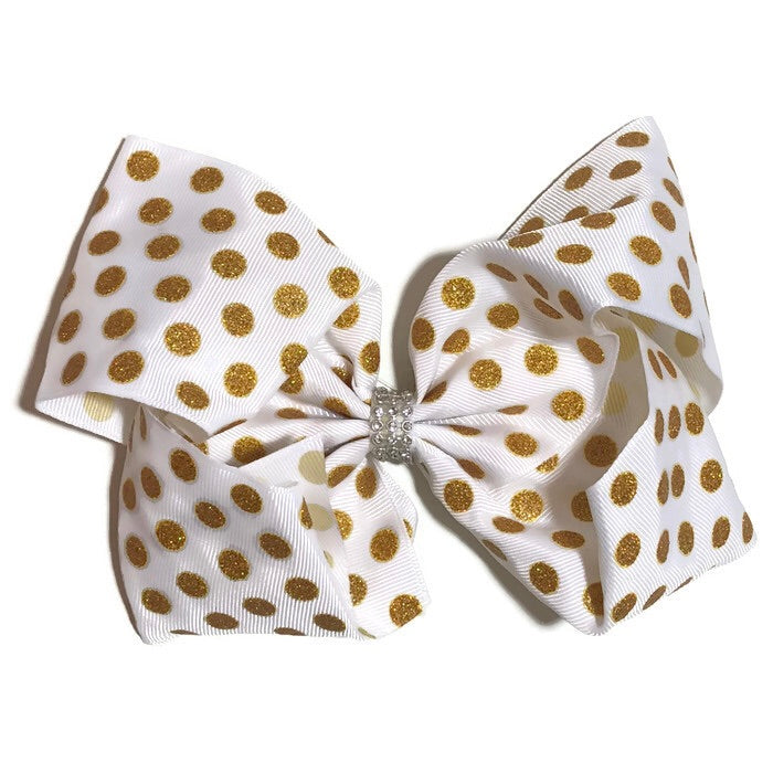 Gigantic Hair Bow - Metallic Gold Polka - Cutie Bowtutie