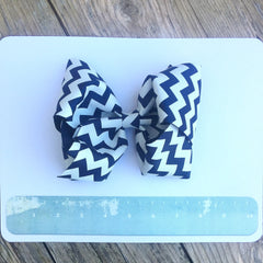 Boutique Gigantic Hair Bow - Navy Chevron - Cutie Bowtutie