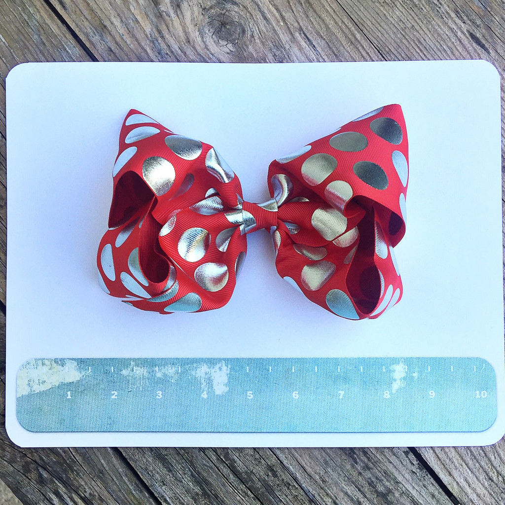 Boutique Gigantic Hair Bow- Red Silver Polka