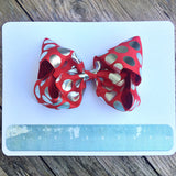 Boutique Gigantic Hair Bow- Red Silver Polka - Cutie Bowtutie