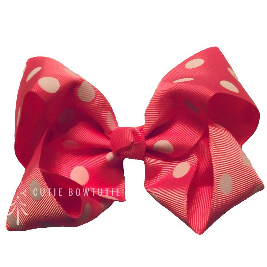 Jumbo Hair Bow - Pink Medium Polka