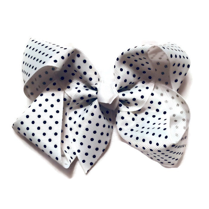 Jumbo Hair Bow - Black small polka