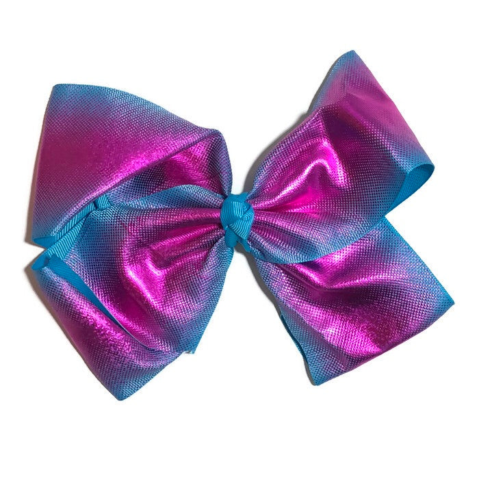 Gigantic Hair Bow -  Metallic Pink on Blue - Cutie Bowtutie
