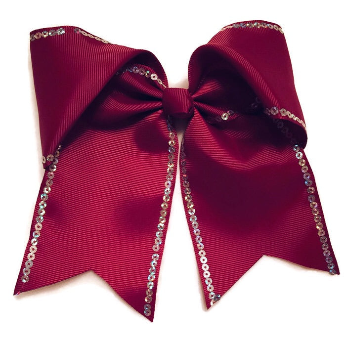 Cheer Bow - Burgundy Sequin
