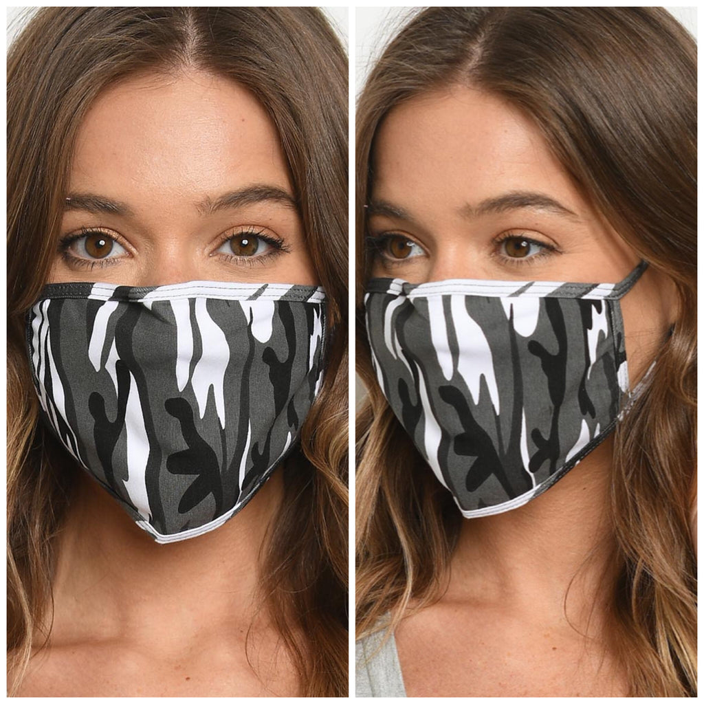 Reusable Face Mask - Gray Camo