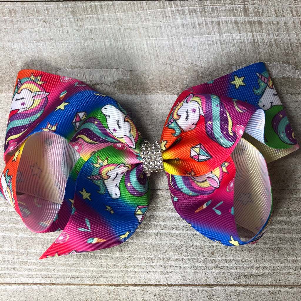 Jumbo Rainbow Unicorn Hair Bow - Bright