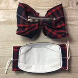 Plaid Uniform Matching Bow and Face Mask Set OLLIS