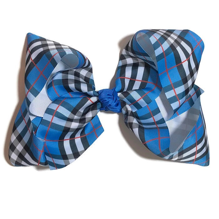 Gigantic Hair Bow - Blue Plaid