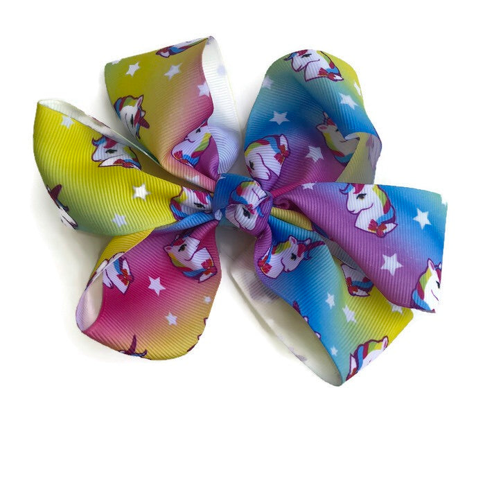 Jumbo Hair Bow - Bright Rainbow Unicorn