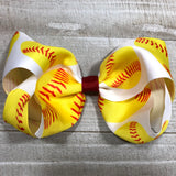 Gigantic Handmade Hair Bow - Softball - Cutie Bowtutie