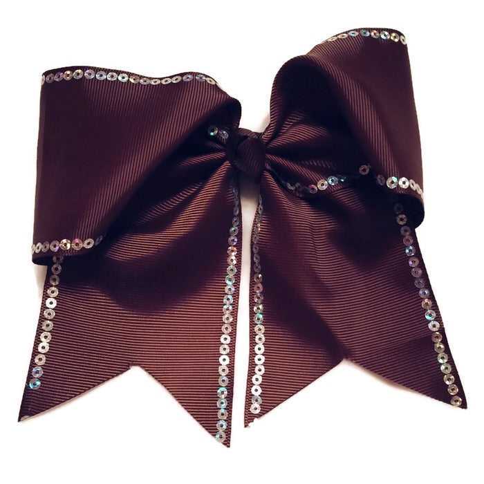 Cheer Bow - Brown Sequin