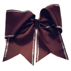 Cheer Bow - Brown Sequin - Cutie Bowtutie