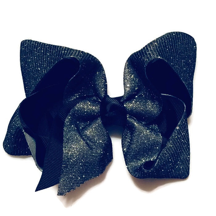 Jumbo Hair Bow -Sparkle Black - Cutie Bowtutie