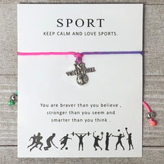 Sport Bracelet - I Heart Volleyball Rainbow