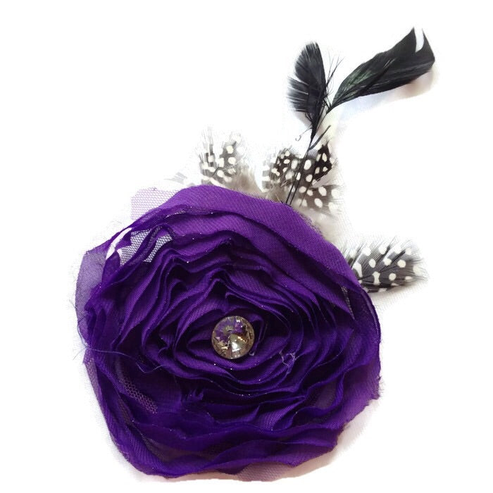 Swirl Feathered Flower Hair Clip-Purple