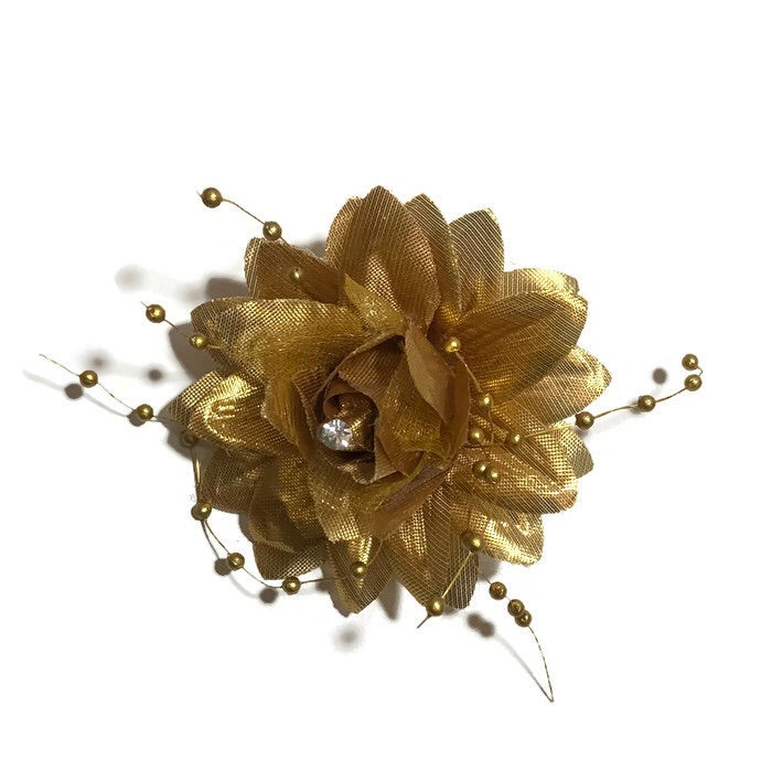 Small Gold and Silver Flower Hair Clip - Cutie Bowtutie