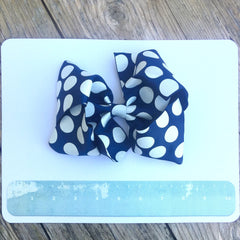 Boutique Gigantic Hair Bow- Navy Polka - Cutie Bowtutie