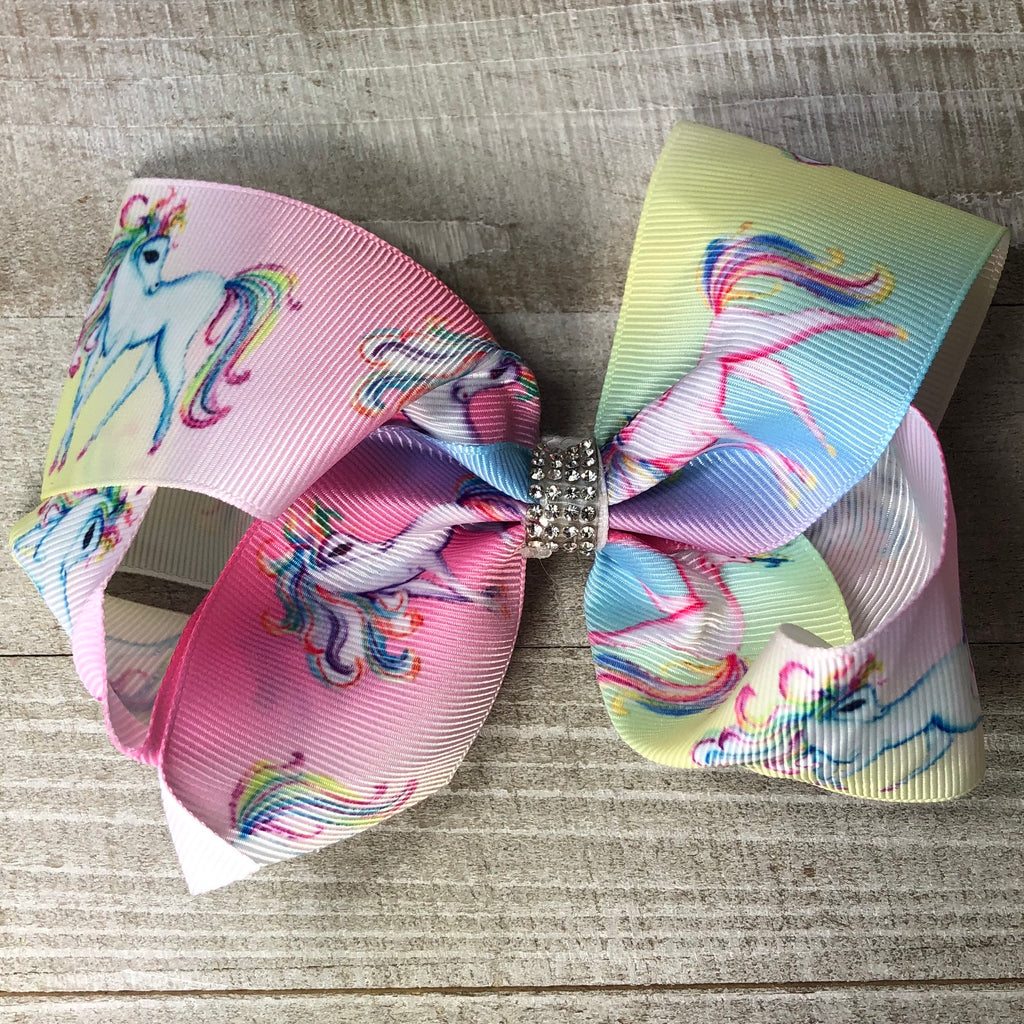 Jumbo Rainbow Unicorn Hair Bow- light