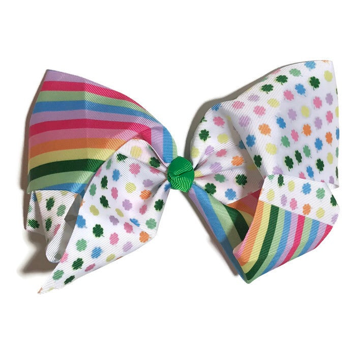 Gigantic Hair Bow - Rainbow clover