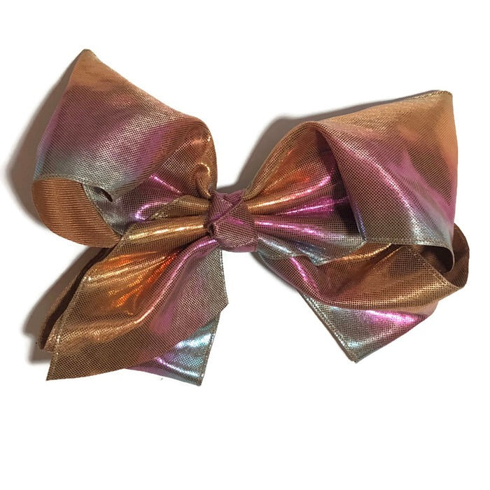 Gigantic Hair Bow - Brown Metallic