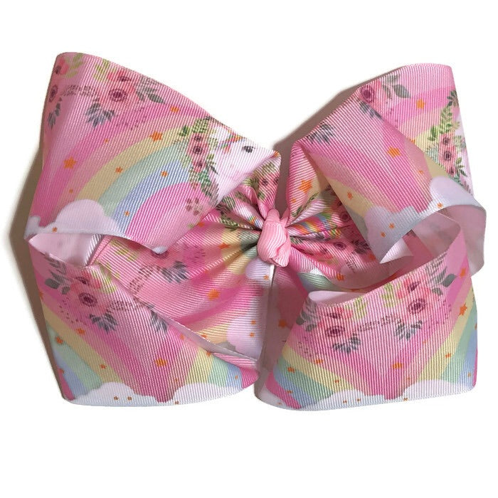 Gigantic Hair Bow - Rainbow Unicorn - Cutie Bowtutie