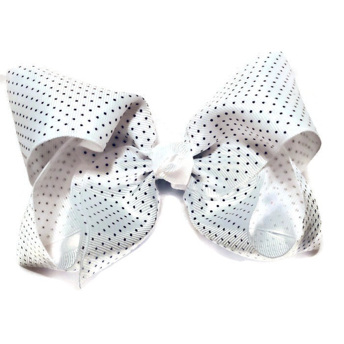 Jumbo Hair Bow - Black tiny polka