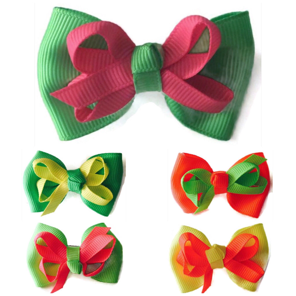 Mini Neon Double Layered Hair Bow