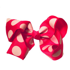 Jumbo Hair Bow - Hot Pink Large Polka - Cutie Bowtutie