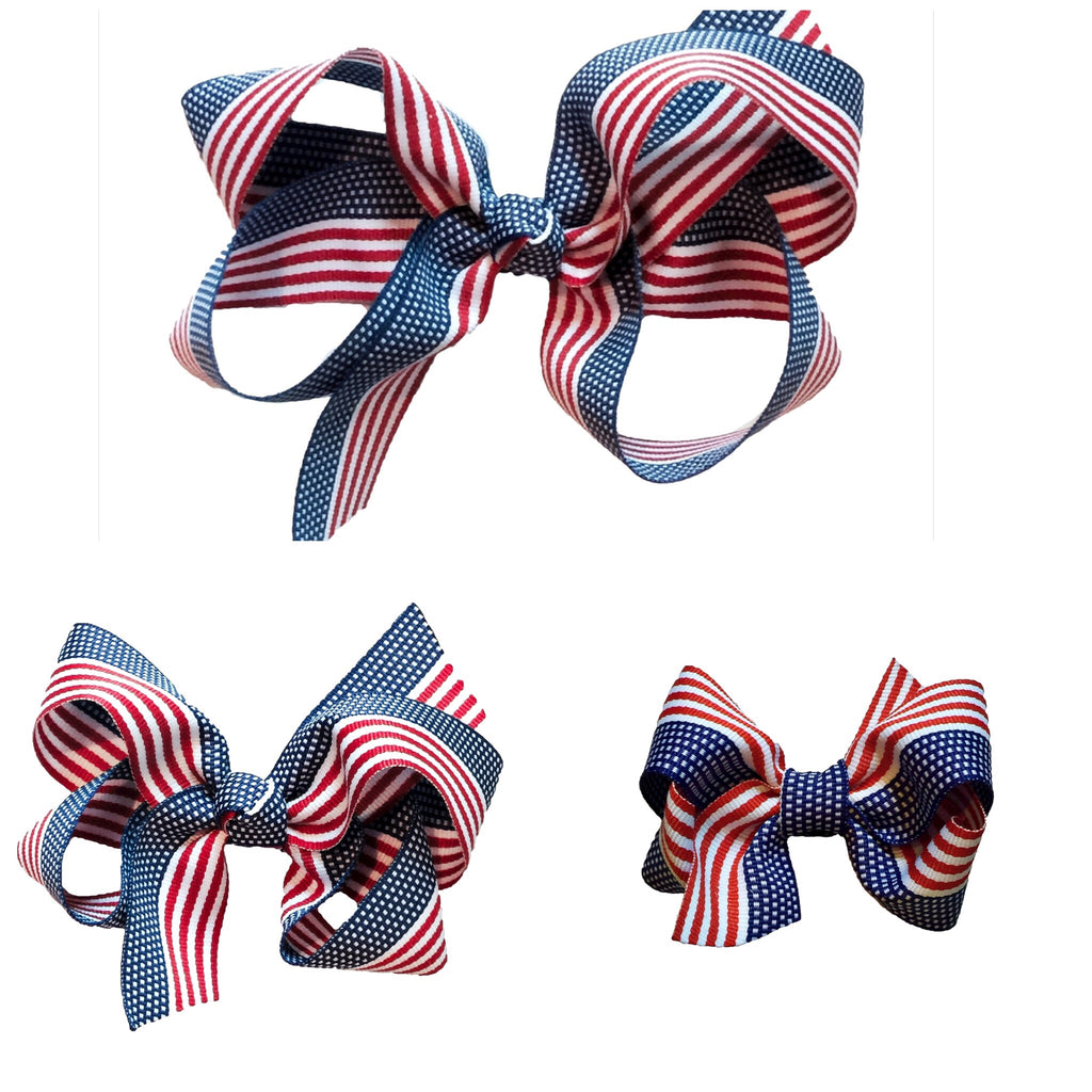 American flag hair bow- handmade