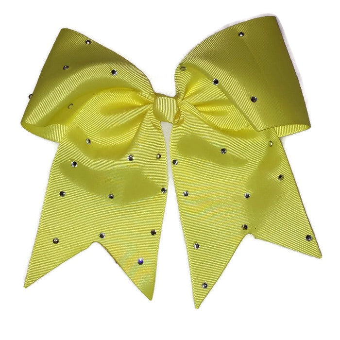 Cheer Bow - Yellow Rhinestone