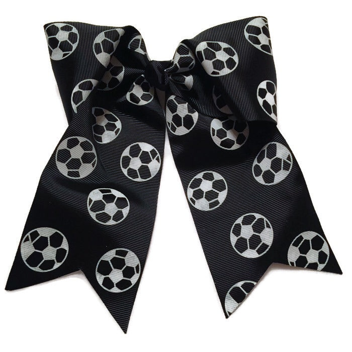 Cheer Bow- Black Soccer