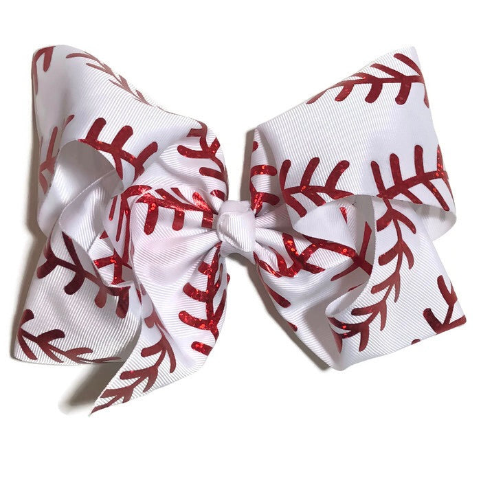 Gigantic Hair Bow - Red Stitches
