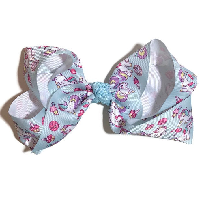 Gigantic Hair Bow -  Blue Sweet Treats Unicorn