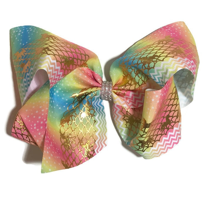 Gigantic Hair Bow -  Metallic Unicorn