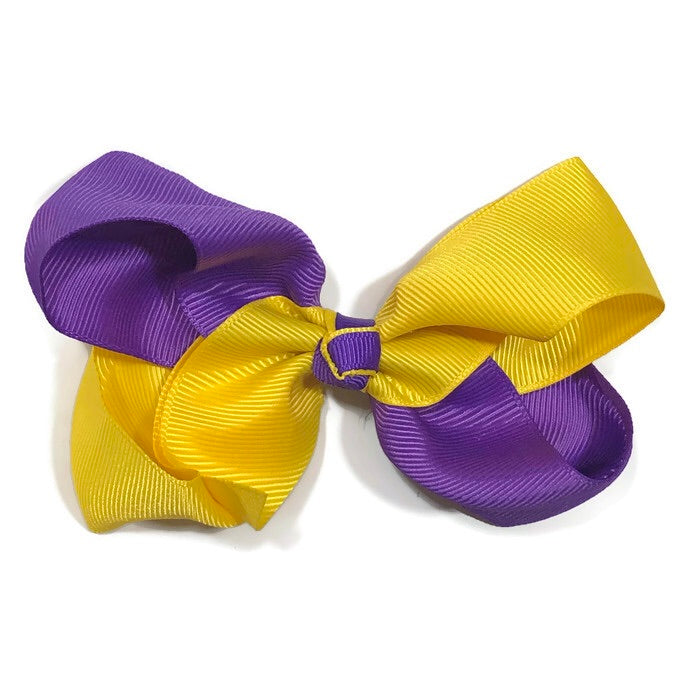 Large Purple and Gold Hair Bow - Cutie Bowtutie
