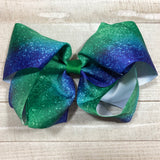Gigantic Handmade Hair Bow - Green & Blue - Cutie Bowtutie