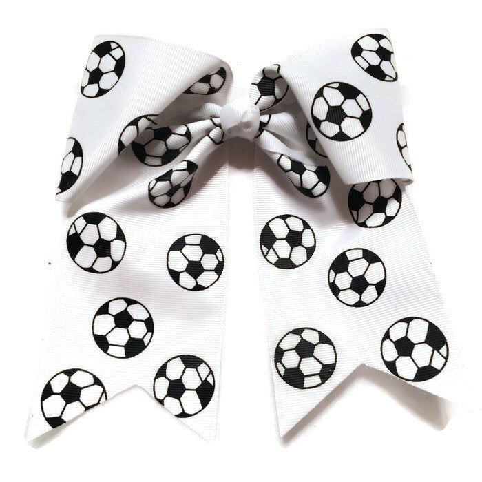 Cheer Bow- White Soccer - Cutie Bowtutie