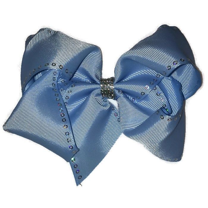 Jumbo Hair Bow - Sequin & Rhinestone Light Blue - Cutie Bowtutie