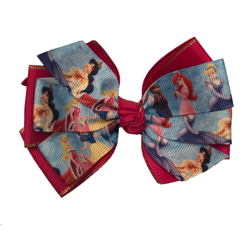 Large Character Hair Bow - Pink Princess
