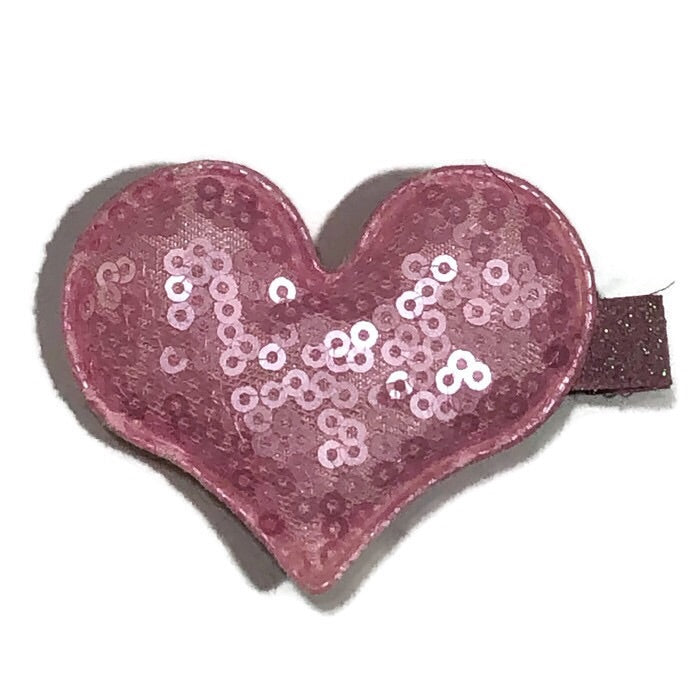 Small Sequin Heart Hair Clip - Cutie Bowtutie