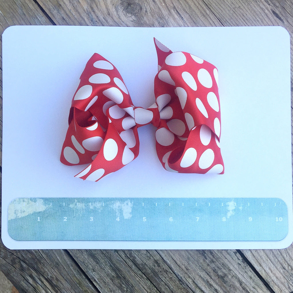 Boutique Gigantic Hair Bow- Red Polka