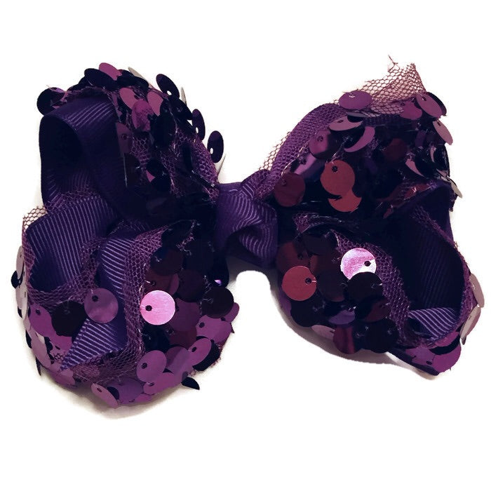 Large Hair Bow - Purple Big Sequin - Cutie Bowtutie