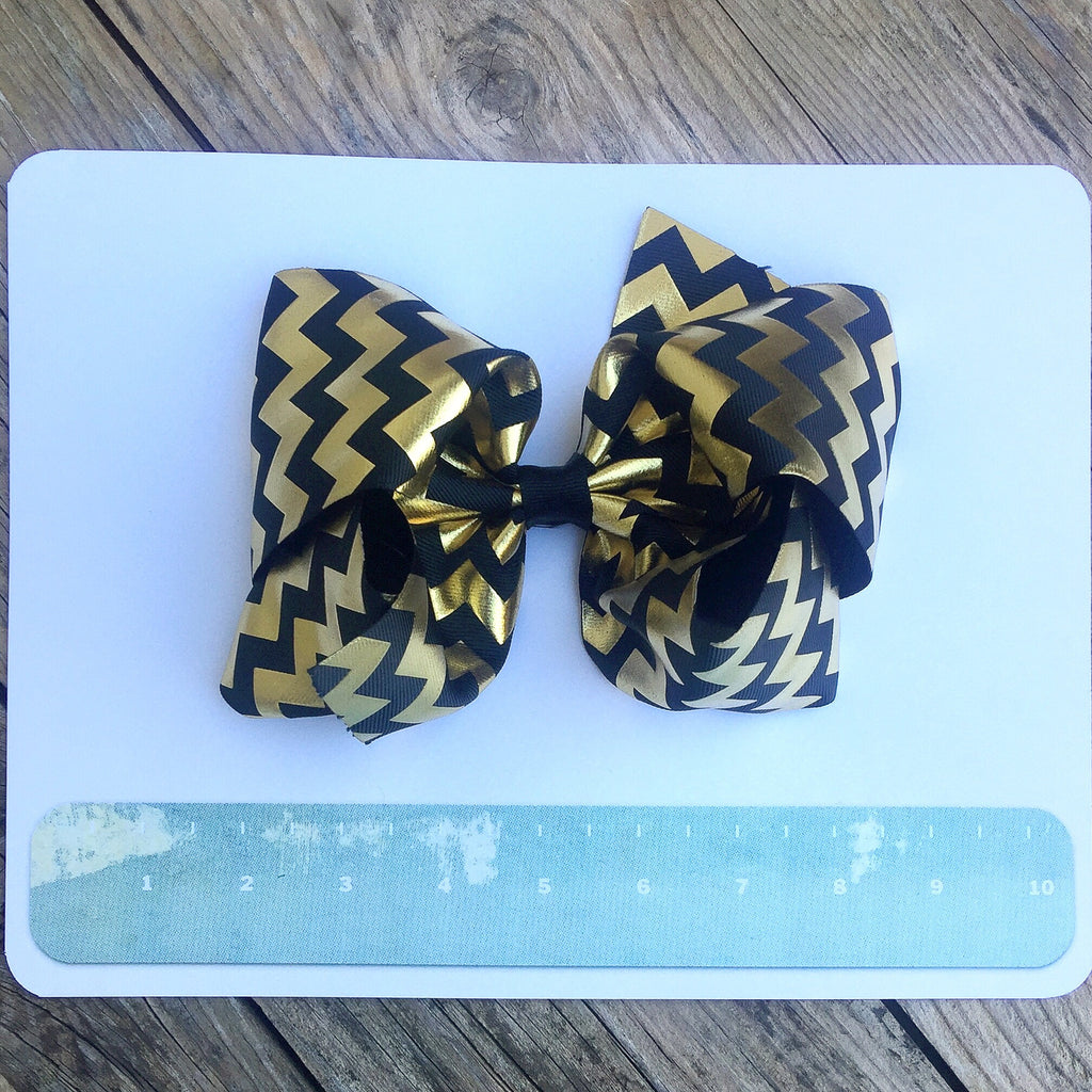 Boutique Gigantic Hair Bow- Black and Gold Chevron