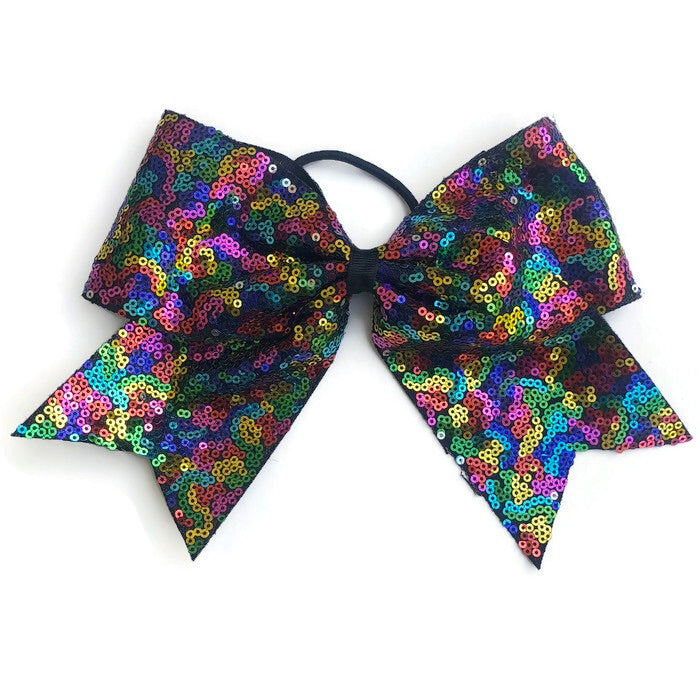 Cheer Bow- Sparkle Rainbow - Cutie Bowtutie