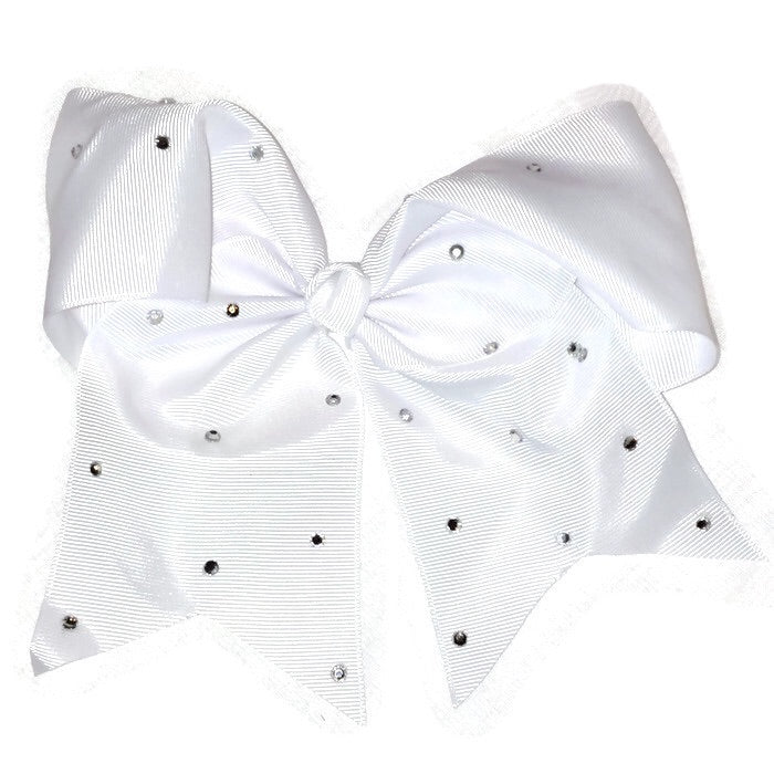 Cheer Bow - White Rhinestone
