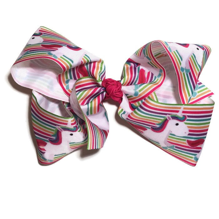 Gigantic Hair Bow -  Rainbow Stripe Unicorn - Cutie Bowtutie