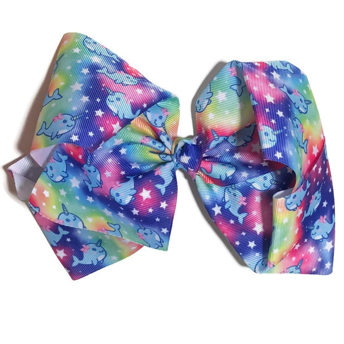 Gigantic Hair Bow -  Galaxy Narwal - Cutie Bowtutie