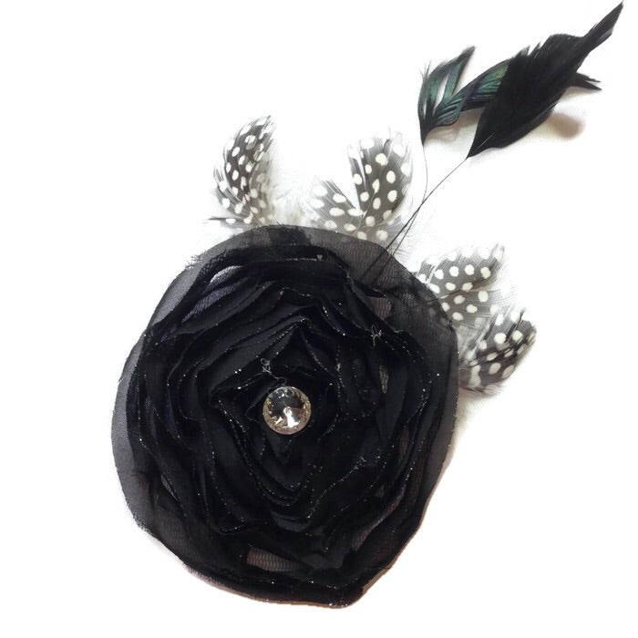 Swirl Feathered Flower Hair Clip-Black